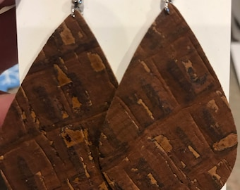 Cork earrings, cork leather, Brown, Light Weight