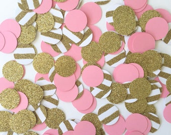 Pink and Gold Confetti, Baby Girl Shower Confetti, Glitter Table Confetti, Bridal Shower Confetti, Baby Girl Shower Decorations