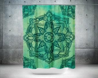 Bohemian Shower Curtain,Mandala Boho Shower Curtain Boho Decor,Gypsy Decor,Hyppie Shower Curtain,Shower Curtains,Green Bohemian Curtain