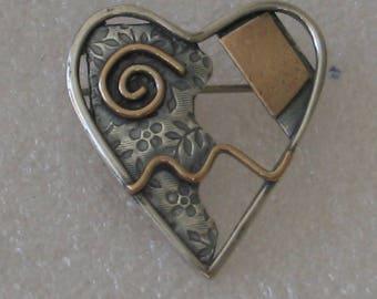 Mixed Metal Heart Brooch