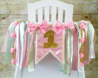 Pink Mint Gold High Chair Banner, Fabric Banner, Wall Banner, High Chair Tutu, Pink, Mint and Gold Birthday, Princess Banner, Garland