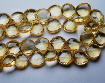 1/2 Strand, AAA Quality Citrine Micro Faceted Heart Shape Briolettes. Large 10-11mm