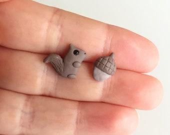 Squirrel and Acorn Stud Earrings