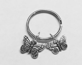 Gift For Her, Monarch Spiral Butterfly Keychain, Animal Keychain, Gift For Her Daughter Niece Keychain