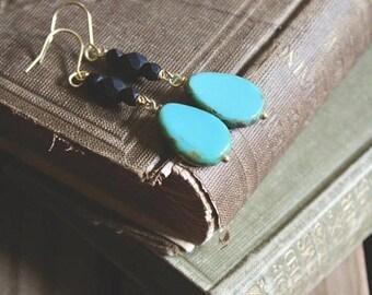 30% OFF SALE Rustic aqua blue picasso bead and matte black dangle earrings, Lakeside