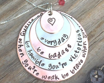 cancer necklace,inspirational necklace, fight back to cancer, be strong when you are weak, be humble when youre victorious ,be badass