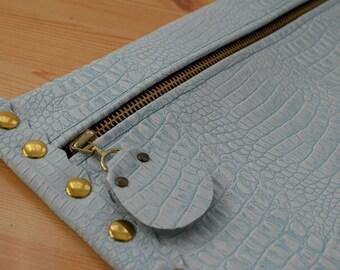 Leather clutch,alligator purse,leather purse bag,turquoise leather clutch,turquoise handbag,leather clutches,turquoise leather bag,alligator
