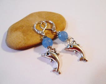 Ice Blue Agate Stone Dolphin Earrings Beach Jewelry Gift for Marine Biologist Diver Sailor Nautical Jewelry Birthday Gift Bolivian Jewelry