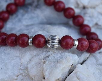 Jade Beads Bracelet For Men/Red Dark Beads/Metallic Ball/Men's fashion Bracelets