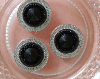 round cabochon black and silver scrapbooking