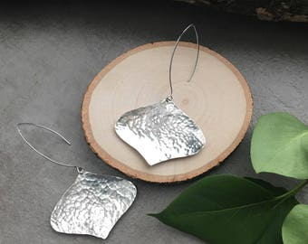 Big Hammered Silver Dangle Earrings - Unique Statement Earrings - Nickel Free Sterling Silver Earrings - Big Earrings - Hammered Jewelry