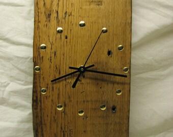 Reclaimed Wood Wall Clock, 6.5 x 12 Inch, Silent Quartz Motor