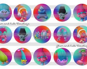 """TROLLS The Movie Rainbow INSTANT DOWNLOAD Bottle Cap Images 4x6 sheet 1"""" circles"""