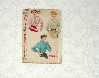 Vintage 50s Retro Country Western Blouse Pattern sz14