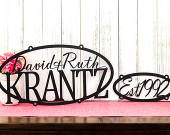 Custom Family Name and Established Sign | Personalized Sign | Outdoor Sign | Name Sign | Custom Sign | Wedding Gift
