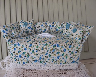 Couch Tissue Box Cover Mini Couch Light Ivory with Small Blue Green Aqua Floral Print, Aqua Buttons Home Decor Bathroom Decor Bedroom Decor