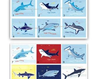 Shark Decor, Shark Art, Prints For Shark Bite Bedding, Shark Bath Wall Decor, Shark Art Prints, Shark Shower Decor, unframed-12 options