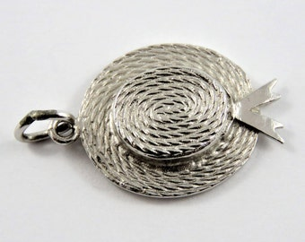 Straw Sun Hat Sterling Silver Charm or Pendant.