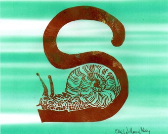Snail S Monogram Linocut - Alphabet Typographic Lino Block Print with Animal - S is for Snail