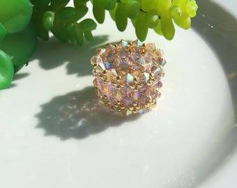 Lace Ring, Handmade Champagne & Violet