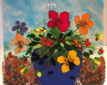 Pansies In A Blue Pot