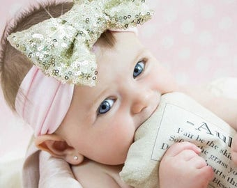 Gold Baby Headband Bow Headband Newborn Headband Baby Girl Headband Gold Headband Girl Headband Infant Headband Baby sequin bow