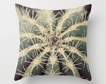 Throw Pillow Cover Cactus Sage Green Cream Southwest Desert Nature Photo Case Home Bedroom Decor Couch Sofa Livingroom Bed