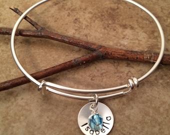 Personalized Name bracelet - Sterling silver expandable bangle - Birthstone bracelet - Adjustable bangle charm bracelet