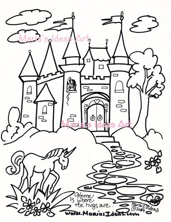 Dibujos para colorear arte de castillo para niños página de
