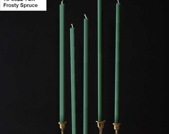 Beeswax Candles 4pcs set - PANTONE 18-5622 TCX - Frosty Spruce - Straight Taper Wax Candles Natural Color 100% Beeswax Organic