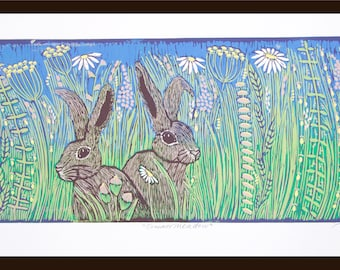 linocut, hare print, summer meadow, wildflower art, printmaking, blue and green, pair of hares, daisy flowers, limited edition art,