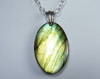 LARGE Flashy Labradorite and Sterling Silver Necklace, Large Luminous Labradorite Pendant, Bright Iridescent Gold and Green Flash