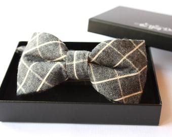 Grey & cream cotton Bowtie for Men. Bowtie. Bow tie for Wedding Groom or Men Gifts