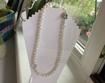 Aquamarine, Sky Blue Topaz and Pearl necklace