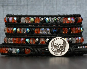 halloween jewelry - skull and crystal wrap bracelet - orange and black - day of the dead