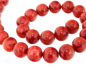"Strand  Red Sponge Coral Gemstone Beads 16mm 16"""