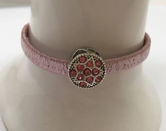Girl bracelet, pink, with Pearl rhinestone ref 773 artificial leather cord