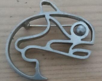 Vintage wale brooch marked aye
