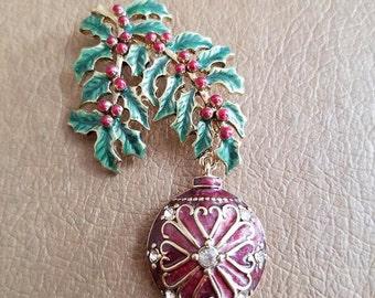 Vintage Monet Christmas Tree Ornament on a Branch Rhinestone Enamel and Silver Tone Metal Brooch Pin