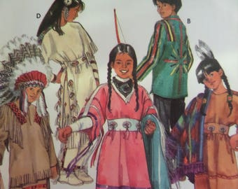 NATIVE AMERICAN COSTUME Pattern • Simplicity 9145 • Childs 3-8 • Seamstress Pattern • Sewing Patterns • Childrens Costumes • WhiletheCatNaps