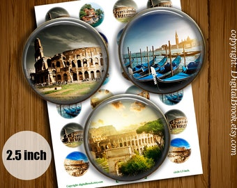 Italy Rome Digital Collage Sheet 2.5inch Printable Circles Download for cupcake toppers Pocket Mirrors Magnets Label - 151