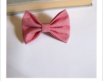 """hair bow """"clip - me"""" little red and white houndstooth foot"""