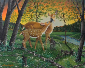 First Spring print, deer and fawn
