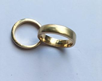 Semi matte 9 carat plain yellow gold wedding engagement ring