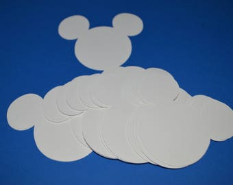 "Mickey Mouse Die Cuts (50) 3"" in White"