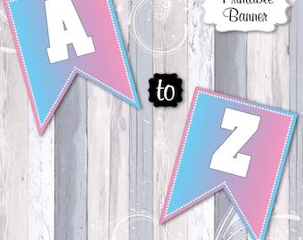 Pink and Blue Gender Reveal Banner, A-Z 0-9, Pink or Blue, Baby Shower Banner, Girl or Boy Banner, Gender Banner, Gender Reveal Shower