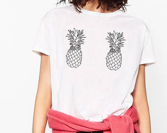 Pineapple Boobs Mermaid Tee Tumblr T-shirt High Quality SCREEN PRINT Super Soft, Worldwide shipping, Gift for Her, Made in the USA