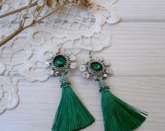 Green emerald Tassel Earrings, long boho earrings, Exclusive handmade jewelry, unique statement earrings, gift for birthday, chic trendy
