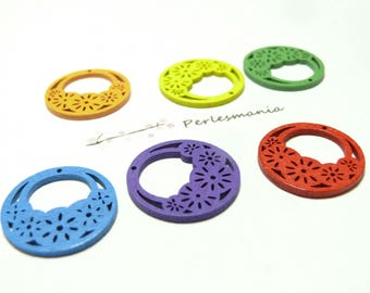 ref 25 basket 10 pendants mixed color wood