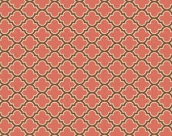 HALF YARD - Joel Dewberry Fabric, True Colors Collection, Lodge Lattice in Salmon, cotton quilting fabric -  SALE